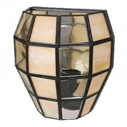 Aplique de pared, estilo granadino, armazón metálico en acabado negro, 1 luz, con cristal opalina y transparente.