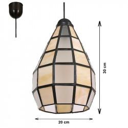Lámpara de techo colgante, estilo granadino, Serie Campana, armazón metálico en acabado negro
