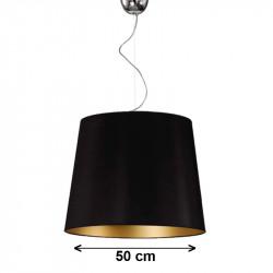 Lámpara de techo colgante, armazón metálico en acabado cromo brillo, 3 luces, con pantalla Ø 50 cm, exterior en negro