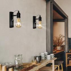 Aplique de pared, Serie Lugano, estructura metálica en acabado negro, 1 luz, sin bombilla.