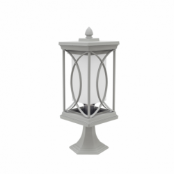 Sobremuro pequeño serie Garden de color plata. Presenta un cuerpo de metal de forma cuadrangular