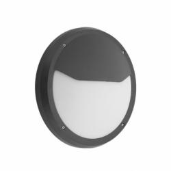 Aplique de exterior, con forma circular, Serie COLIANDRO, realizado en Policarbonato de color NEGRO y estilo moderno.