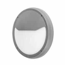 Aplique de exterior, con forma circular, Serie COLIANDRO, realizado en Policarbonato de color GRIS y estilo moderno.