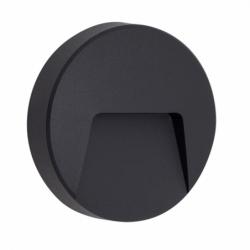 Aplique de exterior, serie Levira, de color gris oscuro. Realizado en metal con un formato redondo.