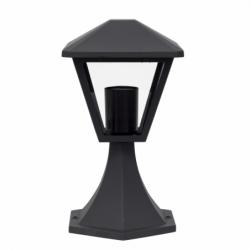 Sobremuro pequeño, Serie Dornela, armazón metálico en acabado gris oscuro, 1 luz, con difusor de cristal transparente.