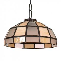 Lámpara de techo colgante, estilo granadino, armazón metálico en acabado oro viejo o negro, 1 luz, con difusor Ø 45 cm