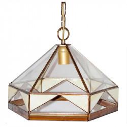 Lámpara de techo colgante, estilo granadino, armazón metálico en acabado dorado, 1 luz, con difusor Ø 27 cm,