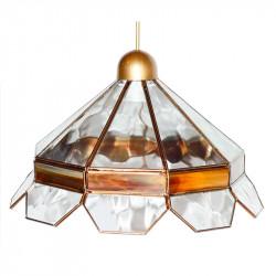 Lámpara de techo colgante, estilo granadino, armazón metálico en acabado dorado, 1 luz, con difusor Ø 35 cm