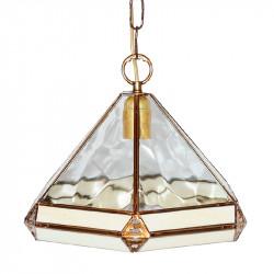 Lámpara de techo colgante, estilo granadino, armazón metálico en acabado dorado, 1 luz, con difusor Ø 32 cm