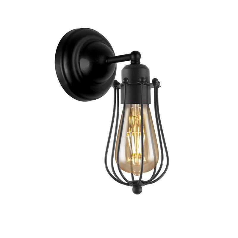 Aplique de pared vintage, Serie Coke, estructura metálica en acabado negro, 1 luz, (sin bombilla).