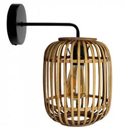 Aplique de pared moderno, Serie Miva, armazón metálico en acabado negro, 1 luz, con pantalla Ø 22 cm, de ratán.