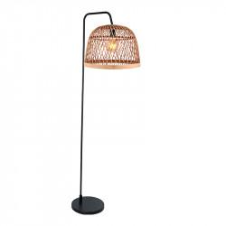 Lámpara Pie de Salón moderno, Serie Manila Natural, armazón metálico en acabado negro, 1 luz, con pantalla Ø 40 cm, de rattan