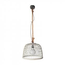 Lámpara de techo colgante, Serie Manila Blanca, armazón metálico en acabado negro, y cuerda, 1 luz, con pantalla Ø 40 cm