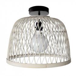 Lámpara de techo plafón, Serie Manila Blanca, armazón metálico en acabado negro, 1 luz, con pantalla Ø 40 cm