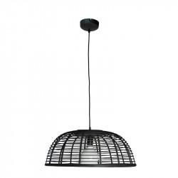Lámpara de techo colgante, Serie Lombok, armazón metálico en acabado negro, con cable textil, 1 luz, con pantalla Ø 56 cm