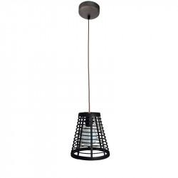 Lámpara de techo colgante, Serie Lombok Cono, armazón metálico en acabado negro, cable textil, 1 luz, con pantalla Ø 21 cm