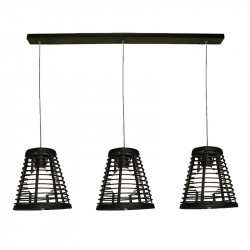 Lámpara de techo, Serie Lombok Cono, armazón metálico en acabado negro, 3 luces, con pantalla Ø 21 cm