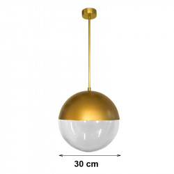 Lámpara de techo colgante, armazón metálico de latón en acabado satinado, 1 luz, con difusor de vidrio soplado en bola Ø 30 cm,
