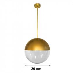 Lámpara de techo colgante, armazón metálico de latón en acabado satinado, 1 luz, con difusor de vidrio soplado en bola Ø 20 cm