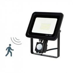 Proyector exterior LED, con sensor de movimiento y sensor lumínico, 30W 4.200lm 6.400K, 120º de apertura. IP65.