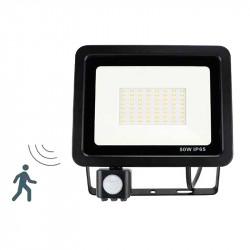 Proyector exterior LED, con sensor de movimiento y sensor lumínico, 50W 7.000lm 6.400K, 120º de apertura. IP65.
