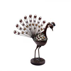 Lámpara SOLAR para jardín, Serie Pavo Real, armazón metálico en acabado marrón, con elementos decorativos de cristal