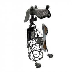 Lámpara SOLAR para jardín, Serie Perro, armazón metálico en acabado plata vieja.