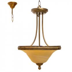 Lámpara de techo colgante clásico, armazón metálico, con elementos de bronce en acabado cuero, 2 luces