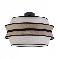 Lámpara de techo moderna, Serie Flavia, armazón metálico en acabado negro, 1 luz, con pantalla Ø 40 cm.