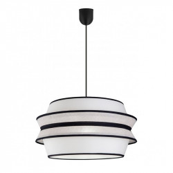 Lámpara de techo moderna, Serie Flavia, pendel de plástico negro, 1 luz, con pantalla Ø 40 cm.