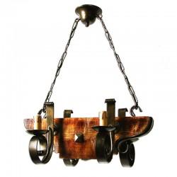 1307-4 - Lámpara de techo, de forja y madera, metal en varios acabados, 4 luces, con vela.