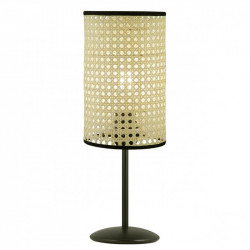 Lámpara de sobremesa moderno, Serie Dafne, armazón metálico en acabado negro, 1 luz, con pantalla cilíndrica.