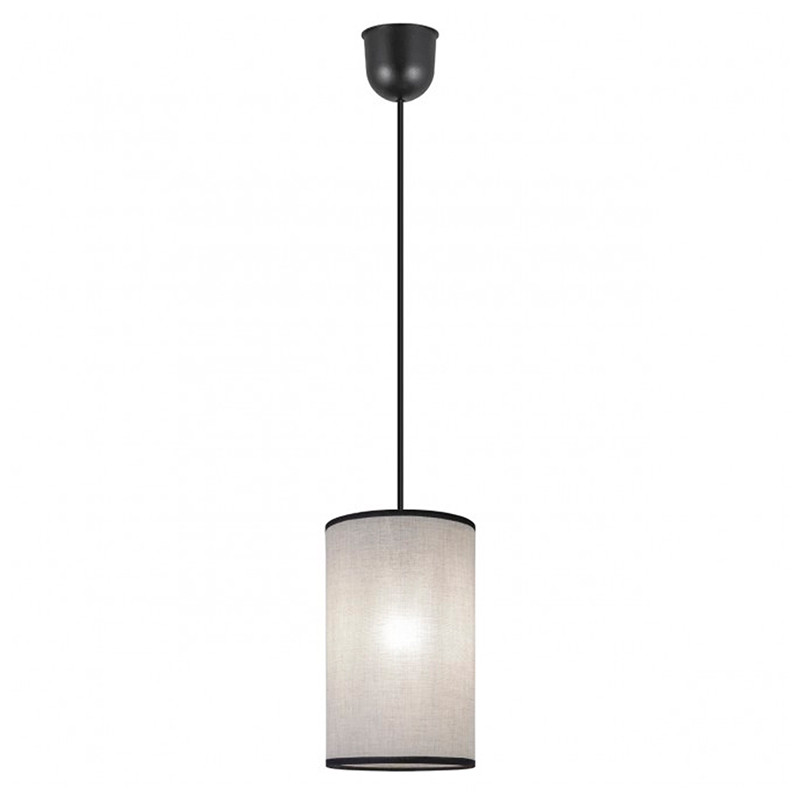 Lámpara de techo colgante, Serie Dafne, pendel de plástico negro, 1 luz, con pantalla cilíndrica Ø 15 cm.