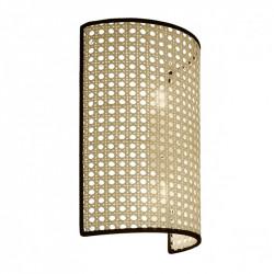 Aplique de pared moderno, Serie Dafne, armazón metálico, 2 luces, con pantalla de rejilla natural, con filos en negro.