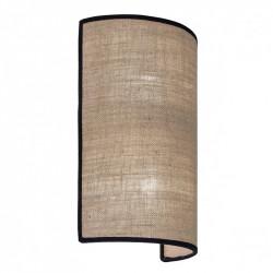 Aplique de pared moderno, Serie Dafne, armazón metálico, 2 luces, con pantalla de tela en acabado tostado, con filos en negro.