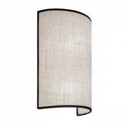 Aplique de pared moderno, Serie Dafne, armazón metálico, 2 luces, con pantalla de tela en acabado beige, con filos en negro.