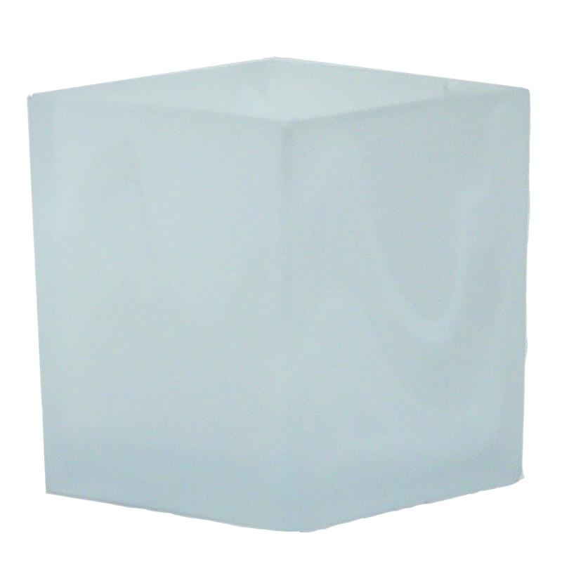 Tulipa de cristal, en acabado alabastro, para portalámparas E14, 9x8 cm.