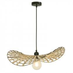 Lámpara de techo colgante, Serie Sibu, armazón metálico en acabado negro, 1 luz, con pantalla Ø 60 cm, de rattan natural.