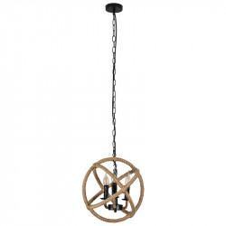 Lámpara de techo colgante, Serie Soga, armazón metálico en acabado negro, con cuerda de cáñamo, 1 luz, con pantalla metálica.