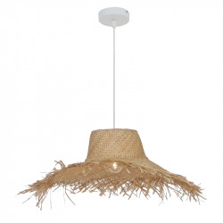Lámpara de techo colgante, Serie Kediri, armazón metálico en acabado blanco, 1 luz, con pantalla Ø 60 cm, de fibra vegetal.