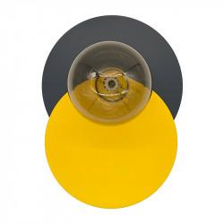 Aplique de pared, armazón metálico, disco en acabado antracita, más disco en acabado amarillo, 1 luz, con difusor en bola