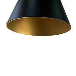 Lámpara de techo colgante, armazón metálico en acabado negro, con elementos de latón en acabado satinado, 1 luz