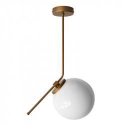 Lámpara de techo colgante, armazón metálico en acabado dorado, 1 luz, con difusor de vidrio soplado en bola Ø 14 cm