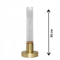 Lámpara de sobremesa, armazón de latón en acabado satinado, 1 luz, con cristal translucido 50 cm, estriado.