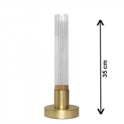 Lámpara de sobremesa, armazón de latón en acabado mate, 1 luz, con cristal translucido ↕ 32 cm estriado.
