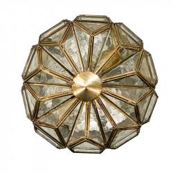 Lámpara de techo plafón granadino, en acabado dorado con cristal catedral. Hecho a mano