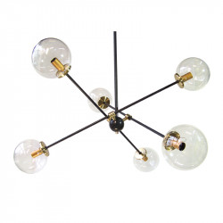 Lámpara de techo, Serie Cigüela, armazón metálico en acabado negro, con elementos de latón en acabado satinado, 6 luces