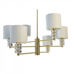 Lámpara de techo, Serie Riansares, armazón de latón en acabado satinado, con elementos decorativos de cristal transparente