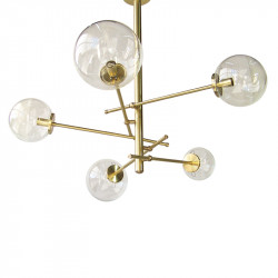Lámpara de techo, fabricada en latón, 6 luces, con bolas de Ø 14 cm en cristal transparente.