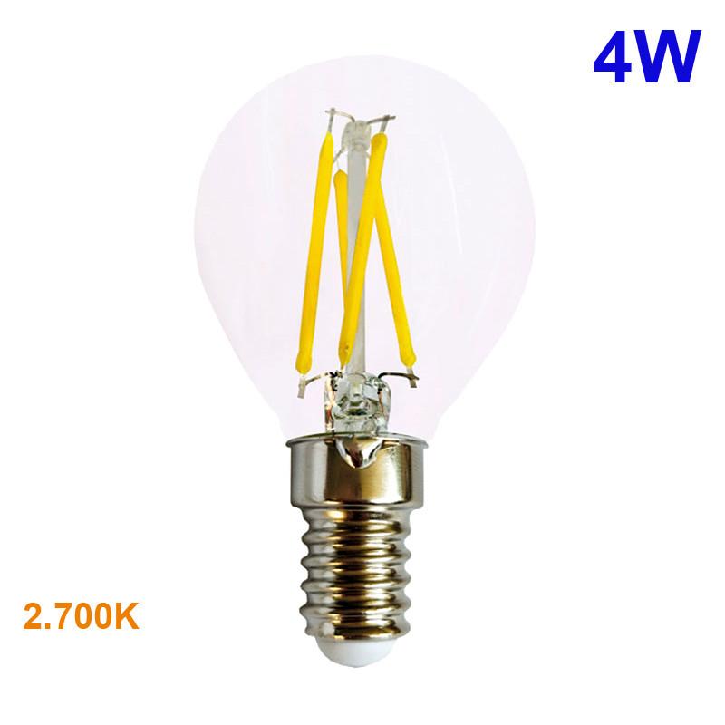 Bombilla LED P45 E14 esférica de filamentos, en cristal transparente, 4W 490lm 2700K, 360º de apertura.